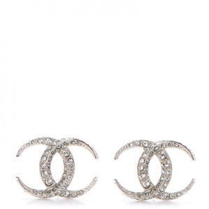 Chanel Large Moon Crystal CC Earrings, Silver